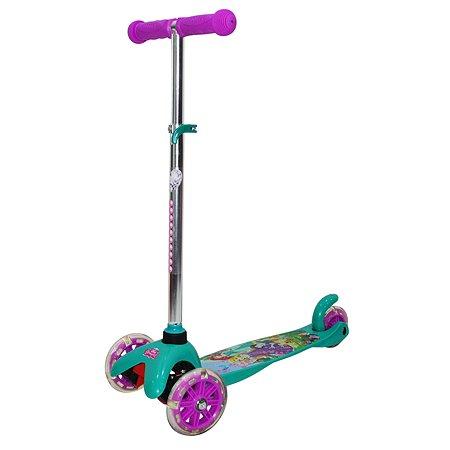 Самокат Disney Princess трехколесный со светящимися колесами управление наклоном