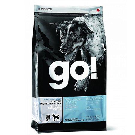 Корм для собак GO для чувствительного пищеварения беззерновой с треской сухой 11.3кг