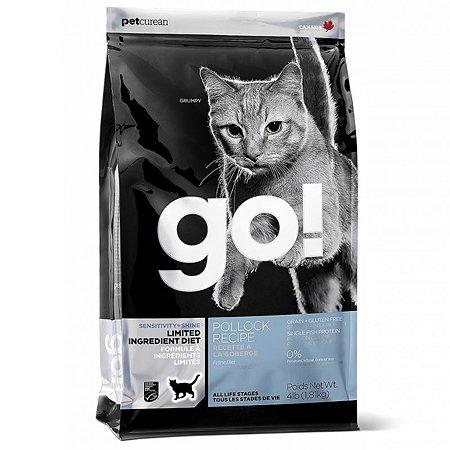 Корм сухой для кошек GO 3.63кг беззерновой с треской для чувствительного пищеварения
