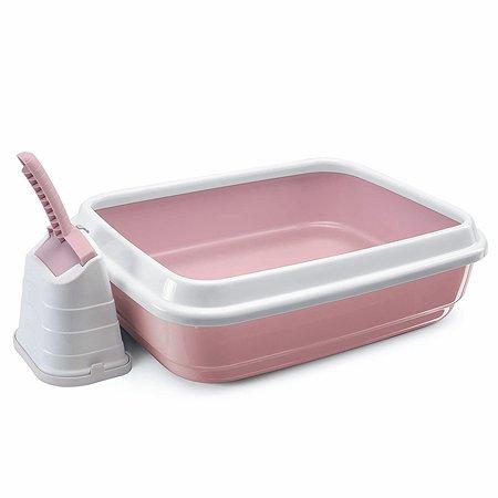 Туалет для кошек IMAC duo с бортом и совком большой Пепельно-розовый