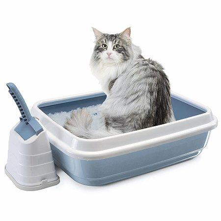 Туалет для кошек IMAC duo с бортом и совком большой Пепельно-синий