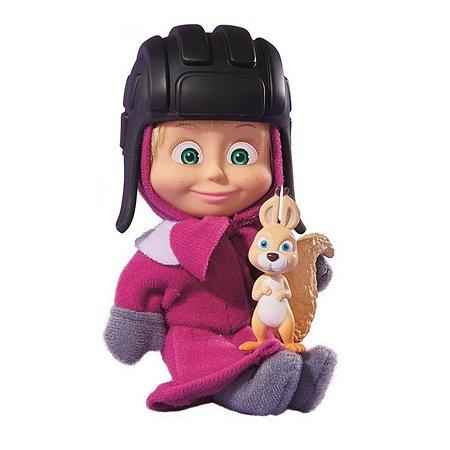 Кукла Simba Маша и медведь Маша в розовом пальто и шапке с белкой