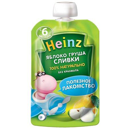 Пюре Heinz яблоко-груша-сливки пауч 90г с 6месяцев