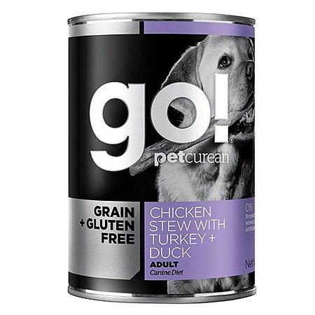 Корм для собак GO с тушеной курицей и индейкой консервированный 400г