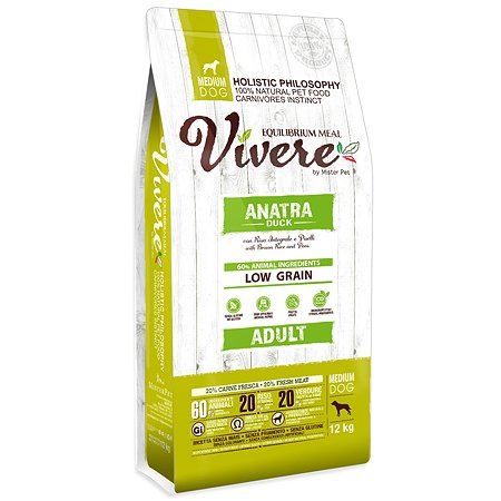 Корм для собак Vivere средних пород утка 12кг