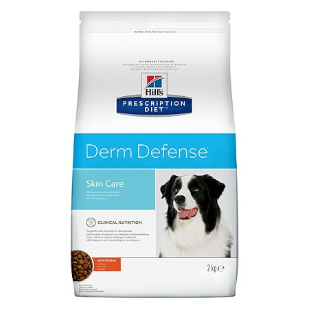 Корм для собак HILLS Prescription Diet Derm Defense Skin Care для здоровья кожи и при аллерии с курицей сухой 2кг