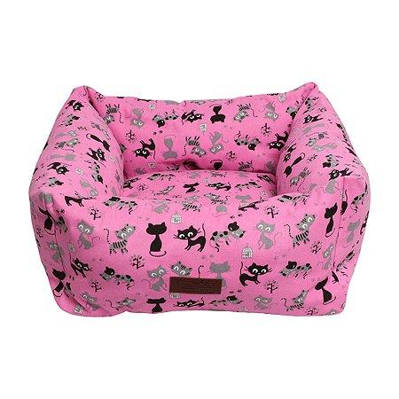 Лежанка для кошек и собак LIONMANUFACTORY Мишель со съемным чехлом Розовый