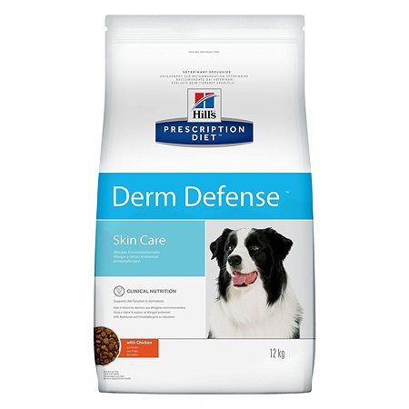 Корм для собак HILLS Prescription Diet Derm Defense Skin Care для здоров кожи и при аллергии с курицей сухой 12кг