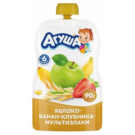 Пюре Агуша яблоко-банан-клубника-злаки 90г с 6месяцев