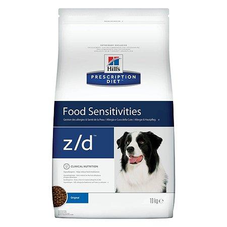Корм для собак HILLS Prescription Diet z/d Food Sensitivities для здоровой кожи при пищевой аллергии сухой 10кг