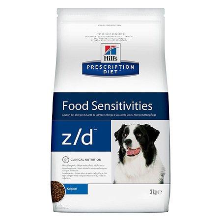 Корм для собак HILLS Prescription Diet z/d Food Sensitivities для здоровья кожи и при пищевой аллергии сухой 3кг