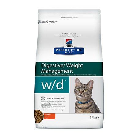 Корм для кошек HILLS Prescription Diet w/d Digestive/Weight Management при сахарном диабете с курицей сухой 1.5кг