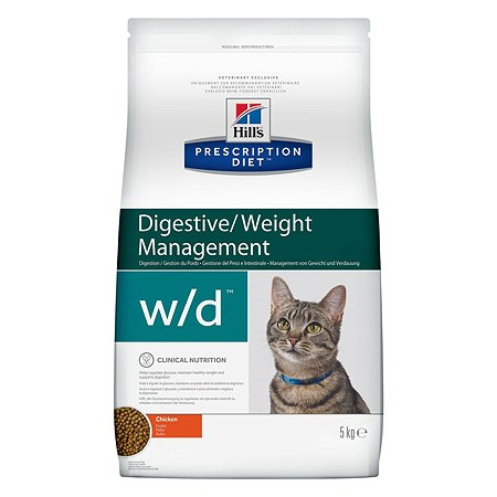 Корм для кошек HILLS Prescription Diet w/d Digestive/Weight Management при сахарном диабете с курицей сухой 5кг