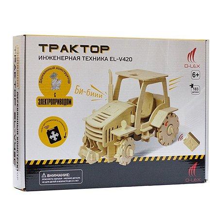 Деревянный  конструктор  Д/У D-LEX Трактор (звук)