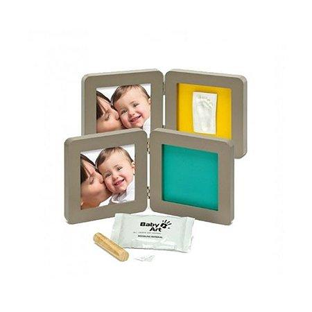 Рамочка BabyArt двойная (серая) подложка (бирюзово/желтая)