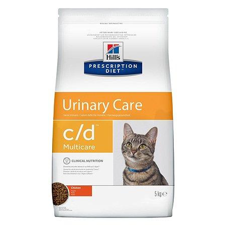 Корм для кошек HILLS Prescription Diet c/d Multicare Urinary Care для МКБ с курицей сухой 5кг