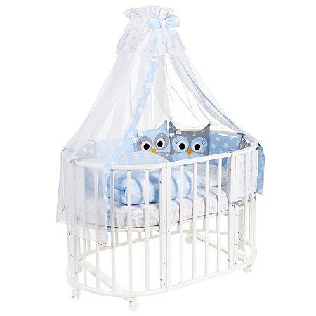 Комплект в овальную кроватку Sweet Baby Uccellino 10предметов Blue Голубой