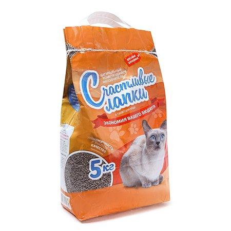 Наполнитель для кошек Счастливые лапки комкующийся Эконом 5 кг