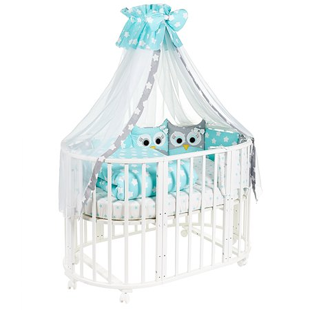 Комплект в овальную кроватку Sweet Baby Uccellino 10предметов Turchese Мятный