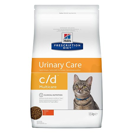 Корм для кошек HILLS Prescription Diet c/d Multicare Urinary Care для МКБ с курицей сухой1.5кг