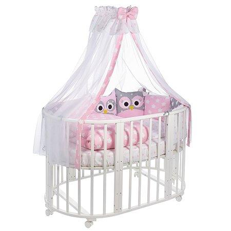 Комплект в овальную кроватку Sweet Baby Uccellino 10предметов Rosa Розовый
