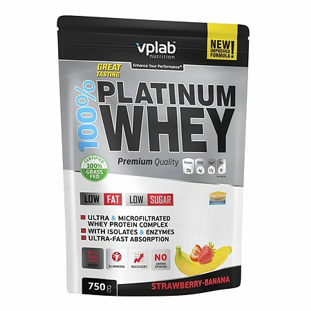 Протеин VPLAB Platinum Whey 100% клубника-банан 750г