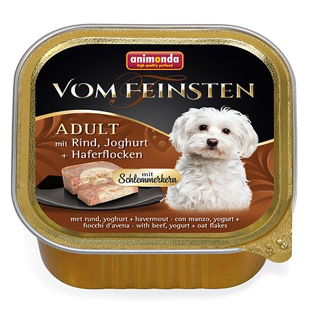 Корм для собак ANIMONDA Vom Feinsten Adult М с говядиной йогуртом и овсяными хлопьями консервированный 150г