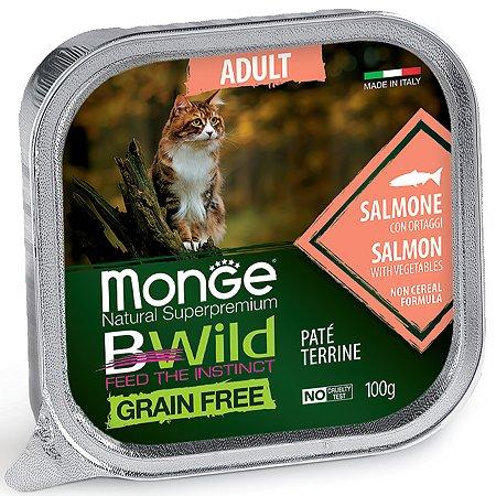 Корм для кошек MONGE BWild Grain free из лосося с овощами консервированный 100г