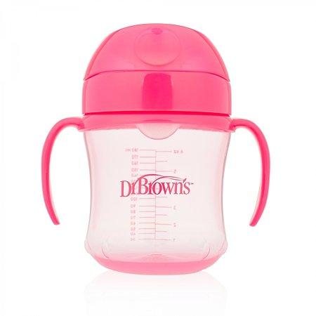 Чашка-непроливайка Dr Brown's с мягким ноcиком 6 мес+ 180 мл Розовая