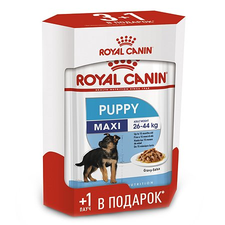 Корм для щенков ROYAL CANIN Maxi Puppy паучи 140г*3+1шт