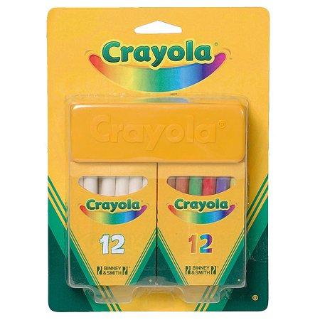 Мелки Crayola белые и цветные 24 шт