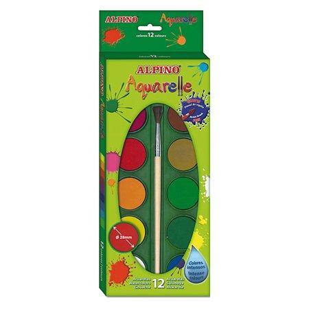 Акварельные краски ALPINO 12 цв. + кисточка