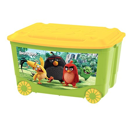 Ящик для игрушек Angry Birds на колесах с аппликацией