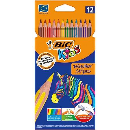 Карандаши цветные BIC Страйпс 12цветов 950522
