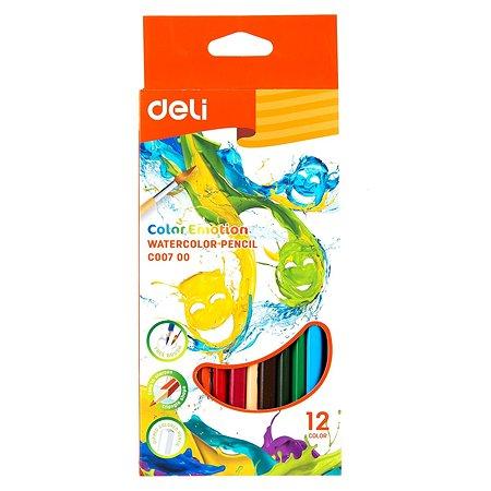 Карандаши цветные Deli Color Emotion акварельные 12цветов EC00700