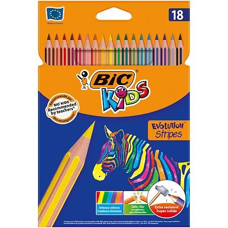 Карандаши цветные BIC Страйпс 18цветов 950524