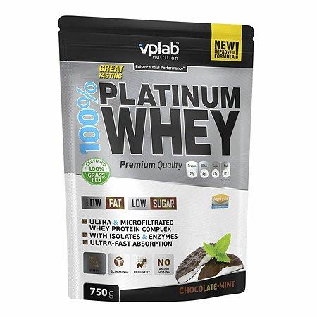 Протеин VPLAB Platinum Whey 100% шоколад-мята 750г