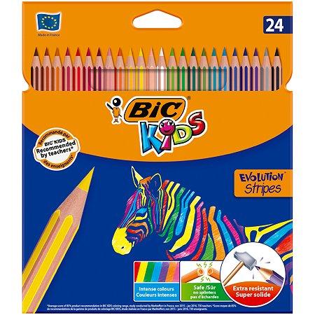 Карандаши цветные BIC Страйпс 24цвета 950525