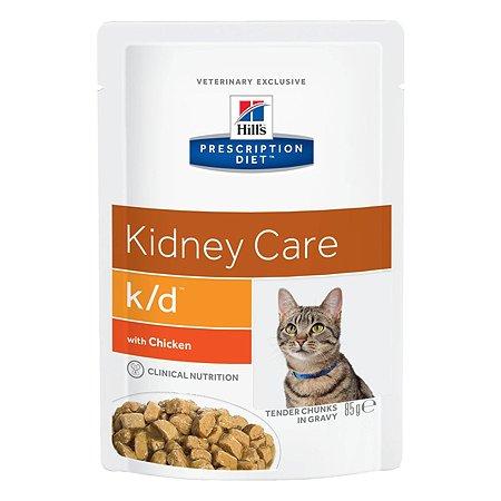 Корм для кошек HILLS Prescription Diet k/d Kidney Care для здоровья почек с курицей пауч 85г