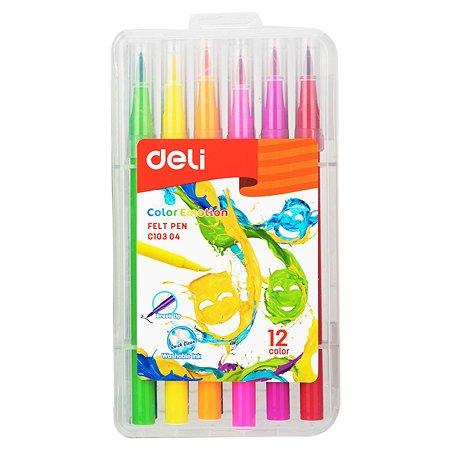 Фломастеры Deli Color Emotion кистевидные 12цветов EC10304