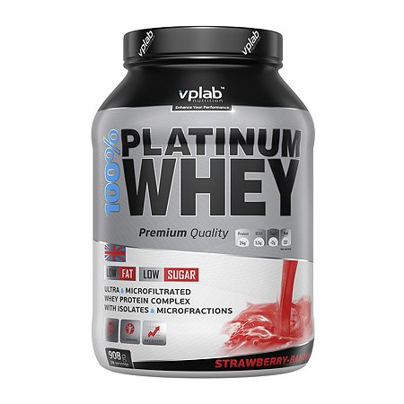 Протеин VPLAB Platinum Whey 100% клубника-банан 908г