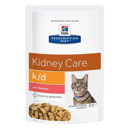 Корм для кошек HILLS Prescription Diet k/d Kidney Care для здоровья почек с лососем пауч 85г
