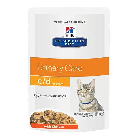 Корм для кошек HILLS Prescription Diet c/d Multicare Urinary Care для МКБ с курицей пауч 85г