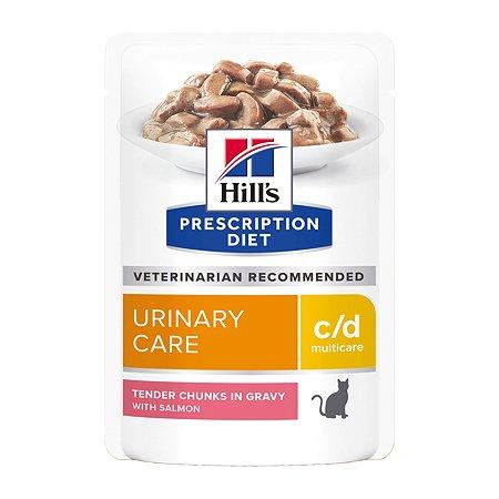 Корм для кошек HILLS Prescription Diet c/d Multicare Urinary Care для МКБ с лососем пауч85г