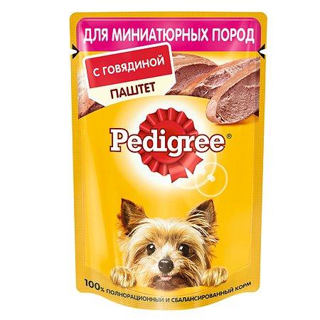 Корм для собак Pedigree миниатюрных пород паштет говядина консервированный 80г