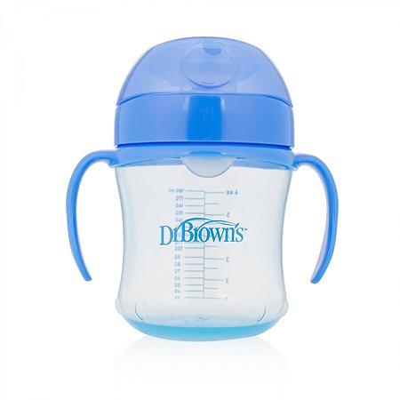 Чашка-непроливайка Dr Brown's с мягким ноcиком 6 мес+ 180 мл Синяя