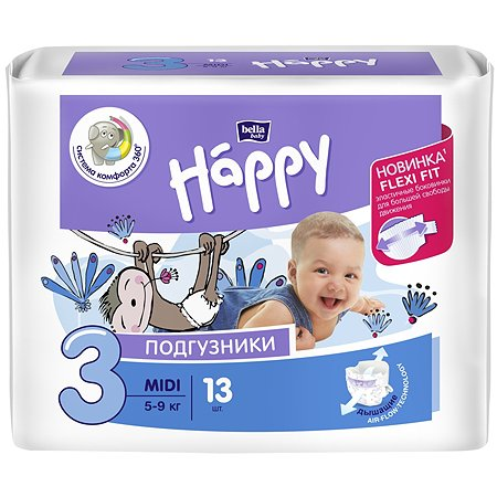 Подгузники Bella baby Happy Midi 3 5-9кг 13шт
