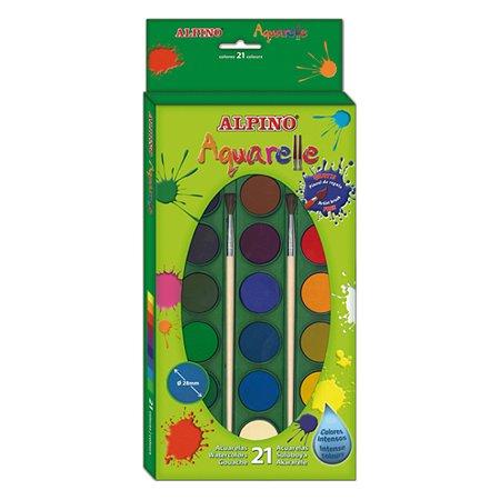 Акварельные краски ALPINO 21 цв. + 2 кисточки