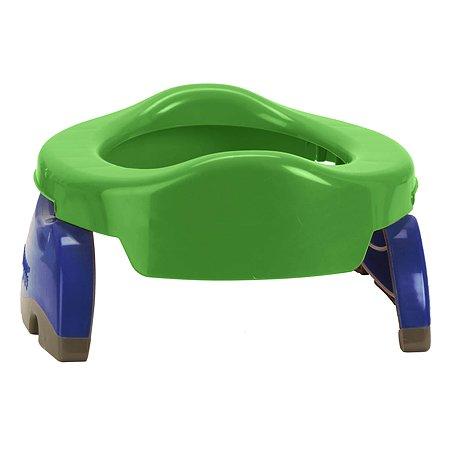 Дорожный горшок Potette Plus складной + одноразовый пакет Зелёный-голубой