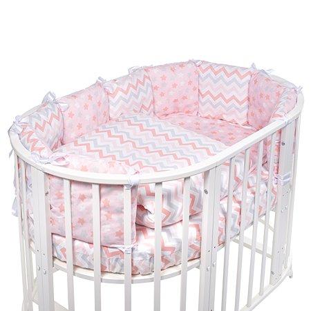 Комплект в овальную кроватку Sweet Baby Colori 5предметов Rosa Розовый